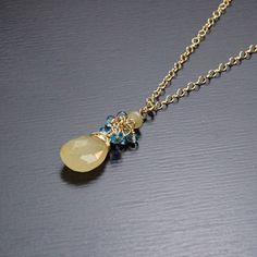 Gold Opal & London Blue Topaz Gold Filled Necklace by agusha, $45.00