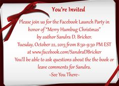 You're Invited to a FB Party 10/22/13 8:30 PM EST  Q&A with author Sandra D. Bricker and prizes! Join us for a fun event: http://www.facebook.com/SandraDBricker