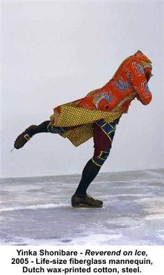 "Nigerian Artist Yinka Shonibare ""Reverend on Ice"" 2005,"