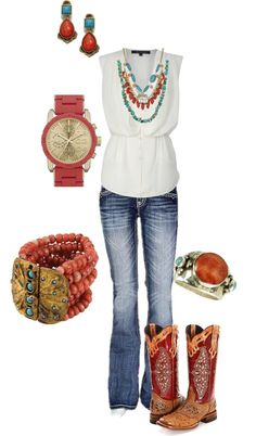 """Goin' honky tonkin' with my boots on"" by kaybraden on Polyvore"