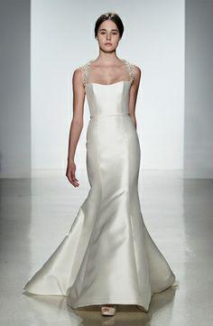 Amsale: Mermaid Wedding Dress with Square Neckline and Natural Waist Waistline