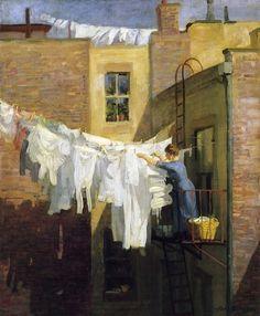 John Sloan  A Woman's Work  |  (Oil, artwork, reproduction, copy, painting).
