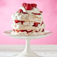 Rosewater and Strawberry Pavlova