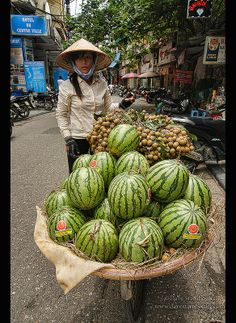 watermelon vendor in Hanoi, Vietnam