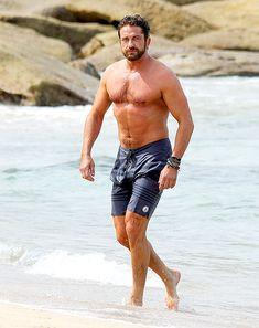 Gerard Butler in the surf at Bondi Beach in Sydney!