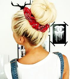 Bandana wrapped around a cute sock bun- Great way to dress it up for the day!