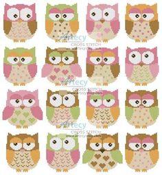 Owls cross stitch pattern.
