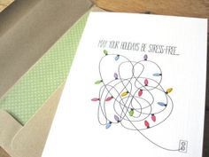 Hand-drawn holiday card...untangle the lights yet again!