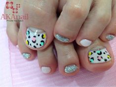 Colorful leopard print pedicure.