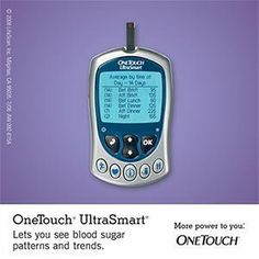 OneTouch UltraSmart Blood Glucose Monitoring System by OneTouch. $51.50. Automatically stores and tracks your blood sugar results. Automatically creates your electronic logbook. 7, 14, 30, 60 and 90 day averages. Easy to use charts & graphs. Patterns are easy to see and understand. Fast & easy. Results in just 5 seconds. Requires only a speck of blood. Option to test on forearm or palm (forearm or palm have fewer nerve endings which mean less pain. Read the owner's booklet and ta... ultrasmart blood, monitor system, diabet tes, touch blood, blood glucos, blood sugar, glucos meter, onetouch ultrasmart, glucos monitor