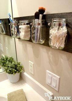 decor, craft, idea, masons, bathrooms, hous, organizers, mason jars, diy