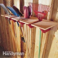 Garage Storage Project: Shovel Rack. This compact rack is strong and simple to build. You can store shovels, rakes, a sledgehammer—any long-handled tools—conveniently up and out of the way. http://www.familyhandyman.com/garage/storage/garage-storage-project-shovel-rack/view-all