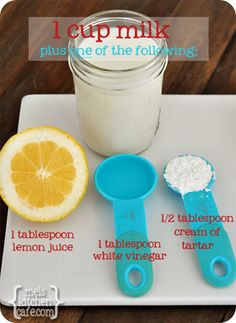 Easy Buttermilk Substitutions...4 great substitutions for making buttermilk when you are out at home and a great free printable to hang up as a reminder.