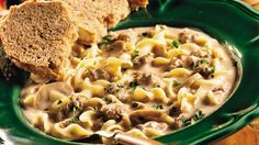 Easy Beef Stroganoff Soup This hearty, creamy soup is an easy variation on a traditional recipe.