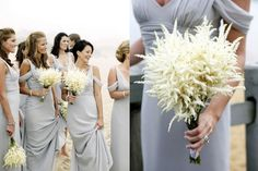 White Astilbe Bouquets, with light grey bridesmaid dresses.
