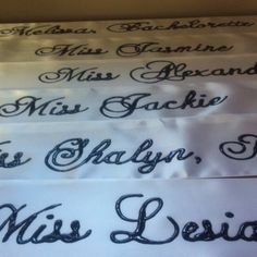 Custom pageant sashes for bride and bridesmaids for our friend's bachelorette party!