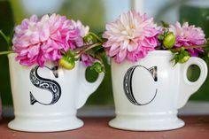 mugs as mini flowerpots