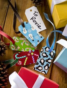 Duck tape crafts - dry erase holiday gift tags