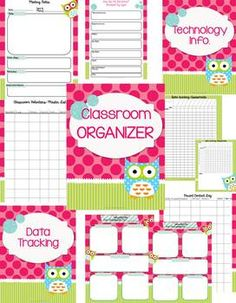 Teacher's Classroom Organizer {Who Has It Together?} if I ever go back into the classroom since I love my OWL theme stuff!