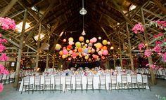 dance floors, barn reception, wedding ideas, chinese lanterns, wedding decorations, barn weddings, colourful wedding, barn parties, party lights