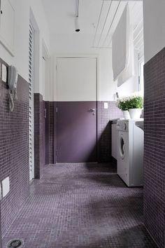 purple tiles + painted door + laundry room