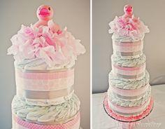 Pink Diaper Cake - #babyshower