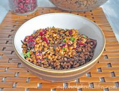 Wheat Berry Salad with Cranberries.  If you have never tried wheat berries, this is a great recipe for you!  Vegan