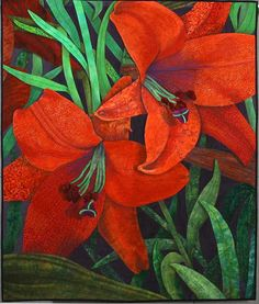 Trumpet Lilies by Debra Danko.  Outstanding Wall Quilt, 2004 Road to California