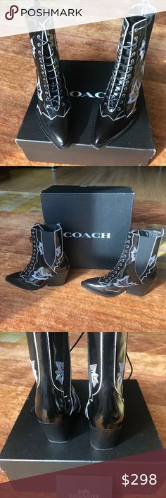 NIB! Coach Western Stitch Boot, Size 5.5 / 36 Brand new and in box! Stunning Coach black lace-up Western Stitch Boots in size 5.5 - runs large so fits size 36 perfectly. Amazing with skirts or pants. Purchased from Coach in SoHo - authentic and rare! Original retail was $598. Coach Shoes Lace Up Boots