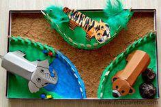 Box Zoo craft with salt dough clay