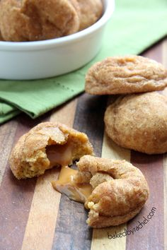 Caramel Stuffed Pumpkin Snickerdoodle Cookies