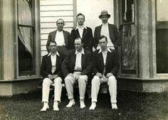 Six men in sporting clothes, possibly in Essendon, date unknown.