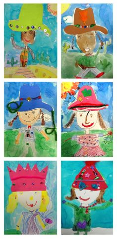 possible self portrait lesson-- with seasonal hats