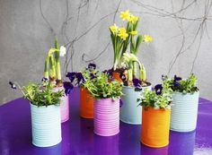 painted-recycled-can-planters