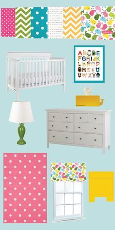 baby Y's nursery plans!   blue, yellow and pink