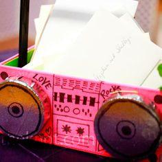 pink boom box card box
