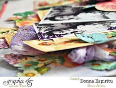 Love the dimension on Donna's layout using Sweet Sentiments and Botanical Tea #graphic45
