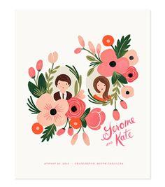 CUSTOM floral portrait print. SO cute!
