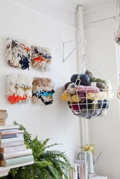 Yarn in a hanging basket