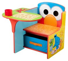 $69.99 Sesame Street Chair Desk. TC83927SS Features: -Desk chair.-Pull out fabric storage bin fits perfectly under the seat for extra storage.-Drop down cup holder provides space to store her pens and pencils or a drink.-Delectable design theme. Color/Finish: -Perfect place for the little person in your life to color, write or just sit and ponder. Assembly Instructions: -Assembly required.