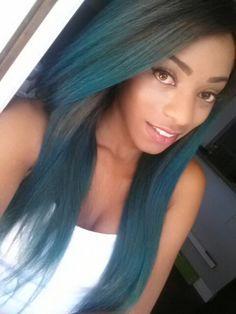 Blue hair straighten