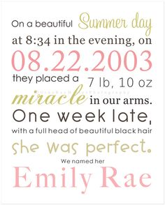 I love this for a birth announcement or nursery wall