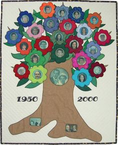 wedding anniversary, tree quilt, family trees, quilt patterns, famili tree, craft idea, bright lights, christmas ideas, tree of life