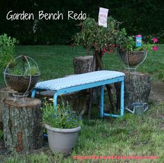 Weight bench turned garden bench.