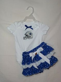NFL Dallas Cowboys Ruffled bloomers onsie outfit NB to size 4 ANY Team  diaper covers. $34.00, via Etsy.