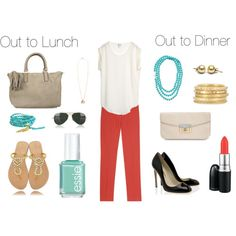 For lunch and dinner.... love red pants.