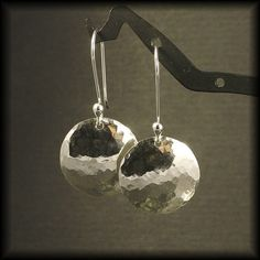 Sterling Silver Earrings /  Hammered Dangles /  by MetalRocks