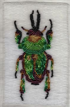 """stagbeetlebf (4"""" x 6"""" stag beetle bead embroidery) By featherstoneislord"""