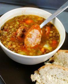 lentil sausage soup, pretty good recipe