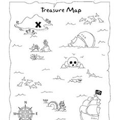 Treasure Map Coloring Page and Activity